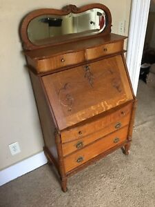 1910 Antique Tiger Oak Slant Front Writing Desk Secretary With Mirror