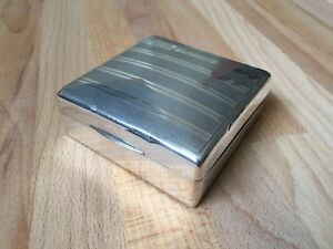 Vintage Solid Sterling Silver Cigarette Trinket Box 1932 Art Deco Style Antique