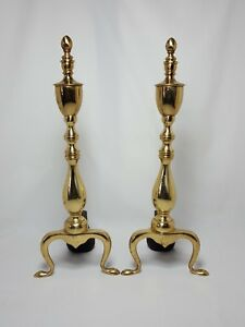 Vintage Solid Brass Federal Leg Fire Place Andirons Pair