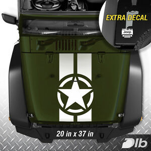 Jeep Wrangler Tj Lj Jk Star Military 2 Stripes Vinyl Hood Decal Sticker Truck C