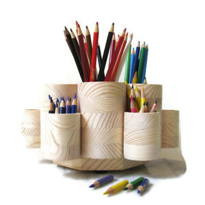 Rotating Colored Pencil Holder With Pencil Stub Cups Holds 300 Pencils New Usa