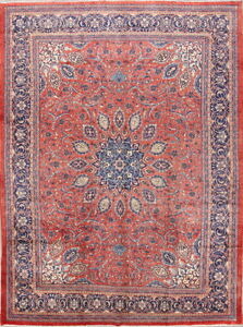 One Of A Kind Hand Knotted Floral Wool Persian Sarouk Oriental Area Rug 10x13