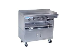 Rankin delux Gb 48 f c ss Commercial Gas Griddle over fired Broiler W Ss Cabinet