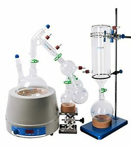 Short Path Distillation Set With Cold Trap Heating Stirring Mantle 2000 Ml