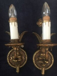 Pair Vintage Antique Brass Wall Sconces Hall Light Lamp Fixture Candle Flower