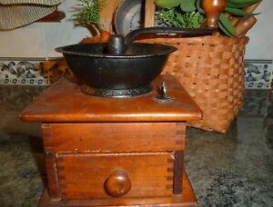 1800 S Coffee Bean Grinder All Dove Tail Great Patina Works Antique