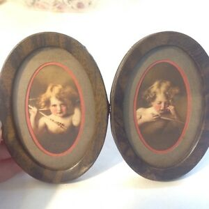 2 Vintage Cherub Prints Pictures In Metal Tin Oval Frames Parkinson