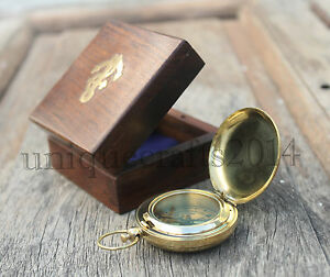 Nautical Brass Push Button Compass Vintage Marine Working Compass W Wooden Box