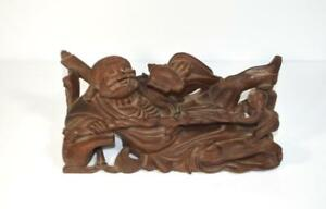 Chinese Immortal Carved Wood Sculpture Reclining Drinking Zhang Guolao W Child
