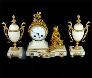 N552 Antique French Japy Freres 8 Day White Marble Clock Garniture Urn Set