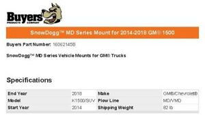 Snowdogg 16062145b Md Series Mount For 2014 2018 Gm 1500