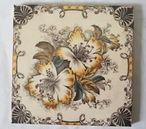 Stunning English Floral Design Antique Six Inch Tile