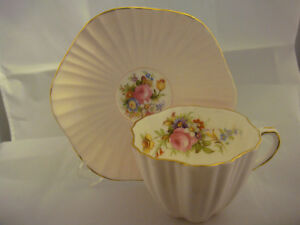 Foley Bone China Made In China Cup And Saucer Pink With Flowers Inside
