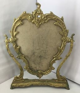 Vintage Solid Brass Large Floral Mirror Stand Footed