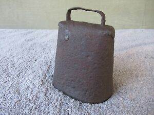 Antique Cow Bell Vintage Primitive Original Clapper 5 1 4 Tall X 4 1 4 Wide