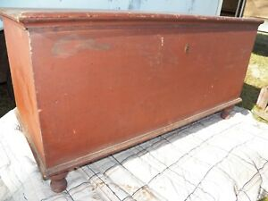 Antique Blanket Chest Old Red Paint Dovetailed Trunk Rustic Primitive