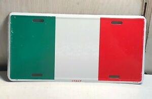 Italy Flag Metal Aluminum Car License Plate Tag Red White Green 6 X 12