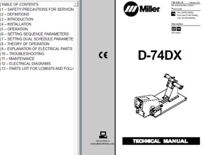 Miller D 74dx Service Technical Manual