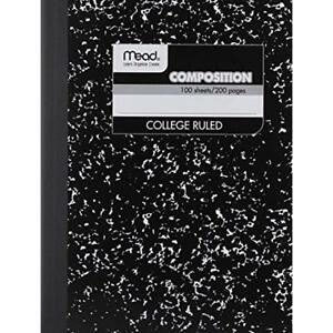 12 Pack of Square Deal Composition Book 100 count College Ruled Black Marble