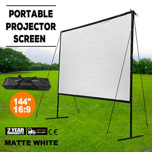 Manual Projector Screen With Auto Lock Pull Down Projection 144 inch 16 9 Ratio