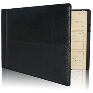 Premium Pu Leather Business Check Binder 7 Ring 3 On Page Checkbook Holder W zip