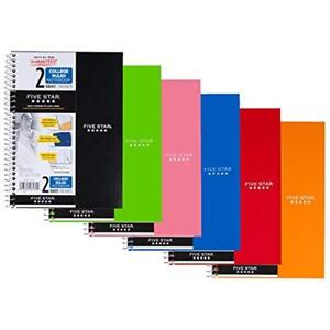 Fba6180 Five Star Spiral Notebook College Ruled 2 Subject X 9 5 Inches 100