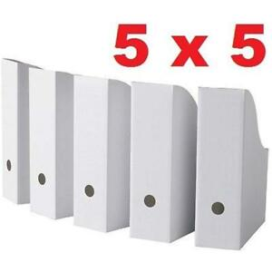 25 White Magazine File Holders Storage Boxes 12 1 4 h 3 1 2 w 9 3 4 d Office