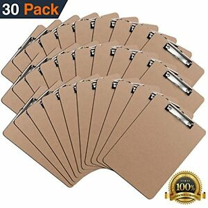 Clipboards set Of 30 By Eco Friendly Hardboard Pack Low Profile Standard A4