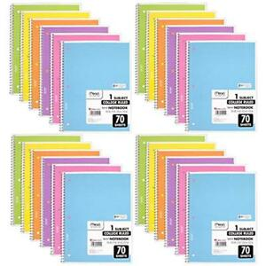 Spiral Notebook College Ruled 1 Subject Assorted Colors 24 Pack