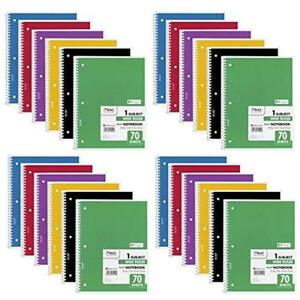 Spiral Notebook Wide Ruled 1 Subject 70 Sheets 24 Pack Office Products