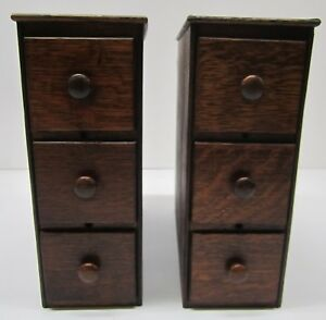 Pair Antique Singer Sewing Machine Treadle 2 Sets Of 3 Wooden Drawers