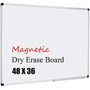 Magnetic 48x36 inch Dry Erase Aluminum Framed Whiteboard With Detachable Marker