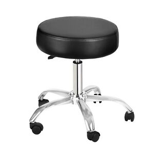 Adirmed Black Faux Leather Adjustable Rolling Medical Office Doctor Exam Stool