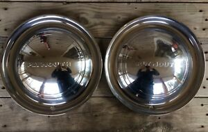 Set Of 2 1949 1950 Plymouth Full Hubcap Special Deluxe Wagon P18 Convertible