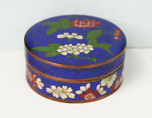 Antique Chinese Cloisonn Round Covered Box