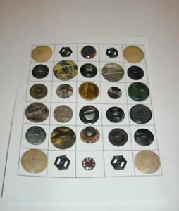30 Vintage Collectable Celluloid Buttons On Display Card Lot
