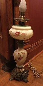 Antique Vintage Gone With The Wind Electrified Handpainted Lamp