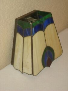 Vintage Tiffany Style Multi Color Stained Glass Shade Wall Sconce Light