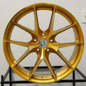 4 new 18 Aodhan Ls007 Ls7 Wheels 18x8 5x114 3 35 Gold Machined Face Rims