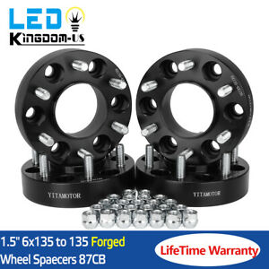 4x Black 1 5 Hubcentric Wheel Spacers Adapters 6x135 For 2004 2014 Ford F 150