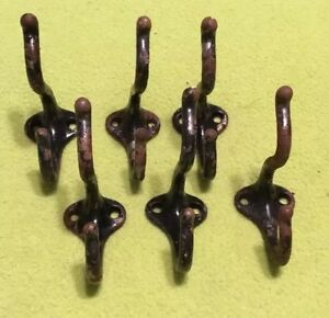 Vintage Original Coat Hooks Cast Iron Lot Of Six