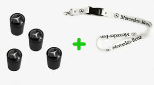 Mercedes Benz Tire Black Valves Stem Caps White Lanyard Keychain 2 In 1 Pack