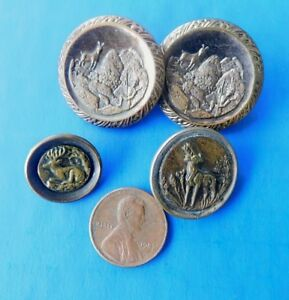 Lot 4 Antique Victorian Metal Picture Button Deer Elk Embossed Brass Metal Backs