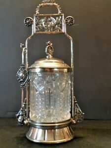Antique Victorian Meriden Company Quadruple Silver Plate Pickle Highly Ornate