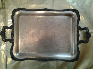 Antique Wm Rogers Silver Plate Serving Tray