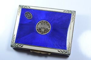 Antique Silver And Guilloche Enamel Snuff Box Vanity Case