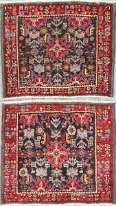 Two Tribal Geometric Abadeh Persian Oriental Hand Knotted 2x2 Wool Square Rugs
