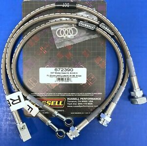 Russell 672390 Stainless Brake Hose Kit 1991 99 Chevy S 10 Pick Up Blazer 4 Wd