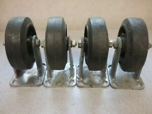 Set Of 4 Plate Caster Wheels 6 X 2 heavy Duty W Grease Fittings Used