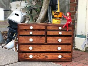 Vintage Machines Tool Chest Tool Box Spool Cabinet Apothecary Cabinet Multi Dr
